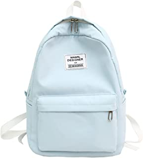 light blue canvas backpack