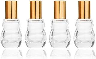 10ml/0.34oz Essential Oil Roller Bottle,Glass Roller Bottles with Stainless Steel Roller Balls,Gold Aluminum Caps For Arom...