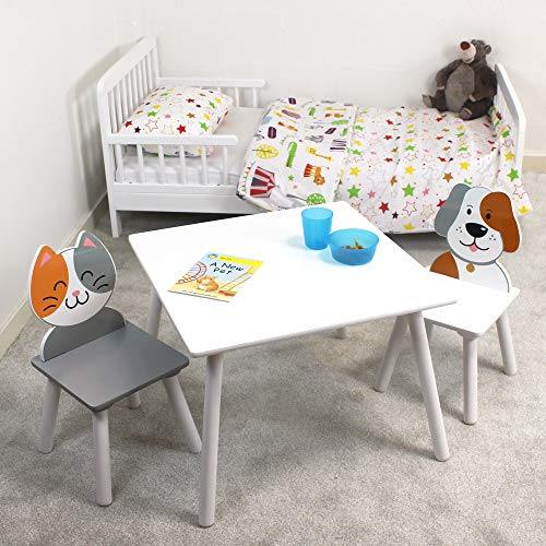 Liberty House Toys Cat and Dog Table and Chairs, MDF, Grey and White, 44cm H W x 60cm D