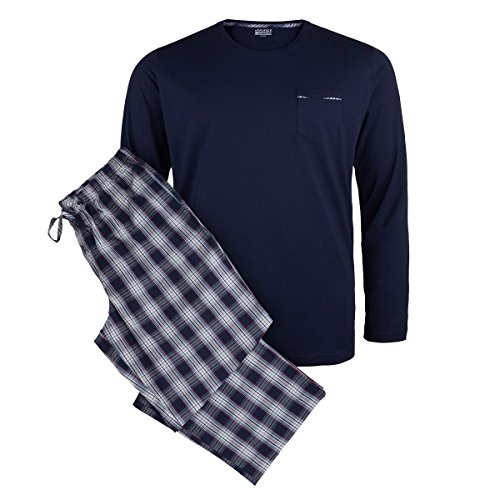 Jockey Langer Pyjama XXL dunkelblau-rot kariert, XL Größe:6XL