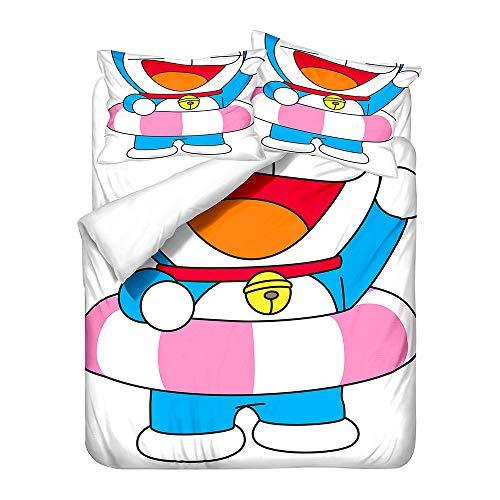 Probuk Doraemon - Juego de ropa de cama de microfibra, diseño de anime, funda nórdica para niños y niñas, con funda de almohada (A-06,150 x 200 cm (50 x 75 cm)