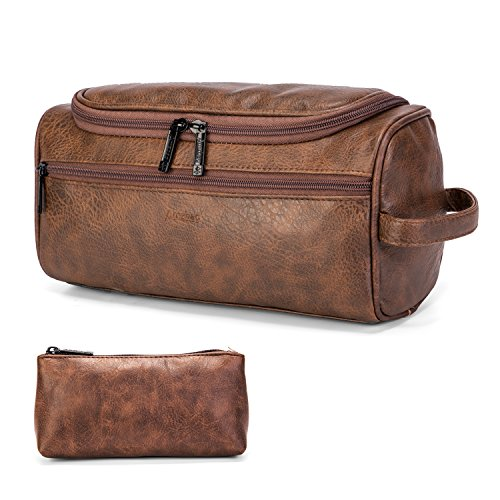 CoolBELL Leather Toiletry Bag Travel Toiletry Organizer Portable Hanging Makeup Bag Dopp Kit & Shaving Cosmetic Bag for Men Women (Brown)