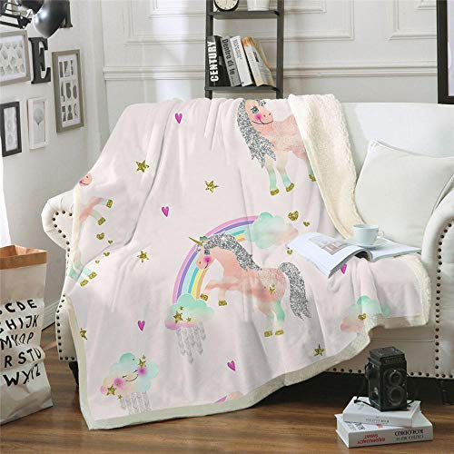 BHFDCR Lamb wool Blanket Pink horse Printed Cashmere Throw Blanket for Kids Adults Soft Warm Microfiber Sherpa Fleece 3D Nap Blanket for Bed, Couch and Travel gift (60x80 inch)