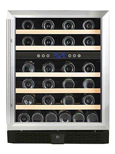 Sonnenkönig of Switzerland Cava 46 Dual Weinkühlschrank / 84 cm Höhe/Freistehend oder für Einbau geeignet/Kompressor-System/silber/schwarz