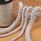 WEDSA 2 Metros Beige 100% algodón Tres Cuerdas de Cuerda Trenzadas Sash Craft 5mm-20mm Cordones Gruesos de algodón para Decorativos Hechos a mano-15mm 2 Metros