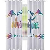 YUAZHOQI - Cortina opaca con aislamiento térmico, diseño caligráfico colorido con montañas abstractas y figuras de flechas, cortinas opacas para dormitorio de 132 x 160 cm, multicolor