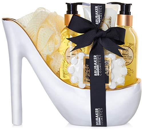 BRUBAKER Cosmetics Luxus Vanilla Spa Beautyset - 6-teiliges Bade- und Dusch Set - Geschenkset in Keramik Stiletto Weiß Gold