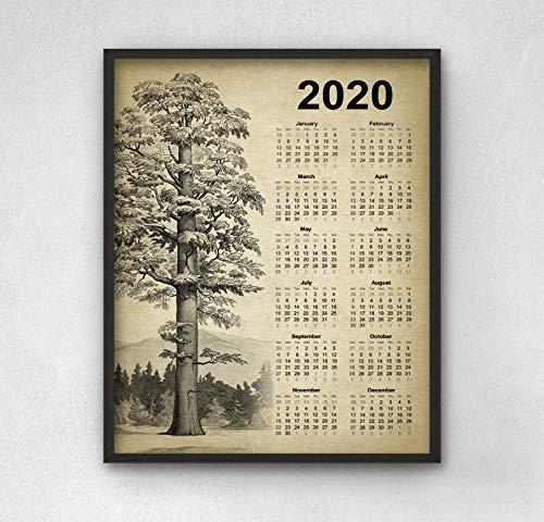 Erti567an Calendario gigante de árbol de secuoya 2020 gigante árbol de secoya árbol de arte vintage secuoia calendario 2020 cocina calendario 2020 decoración pared cocina
