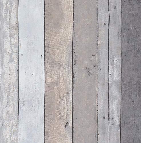 Hellgrau und Dunkelgrau Holz Streifen Wandtapete Matte 45cm x 500cm Holzoptik Tapete Selbstklebend Klebefolie Holz Wandaufkleber Holzmaserung Folie für Küchen Wand Möbel Vinyl Oberflächenschutz