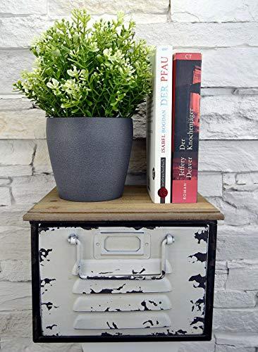 Livitat® Regal mit Schublade Schweberegal Wandboard Hängeregal Metall Vintage Industrie Loft Design LV5061 (Weiß klein)