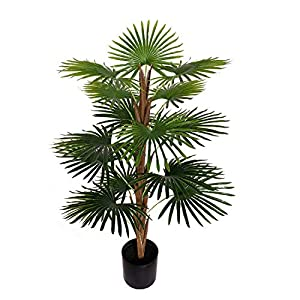 Silk Flower Arrangements BESAMENATURE 40-inch Artificial Windmill Palm Tree - Faux Palm Tree Used for Home Office Decoration