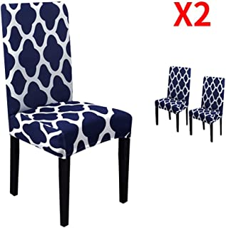 YIMEIS Stretch Dining Chair Slipcovers, Geometric Printed Dining Chair Protector, Removable Washable Short Dining Chair Seat Covers for Dining Room, Kitchen, Office (Pack of 2, Navy)