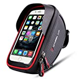 Wallfire Bicycle Mobile Phone Front Frame Bag Cycling Mobile Phone Bag for GPS Self-Driving Navigation Touch Screen with Sun Visor and Rain Cover