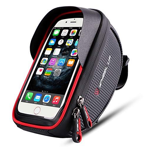 Bike Phone Mount Bag, Bicycle Frame Bike Handlebar Bags with Waterproof Touch Screen Phone Case (Black+Red)