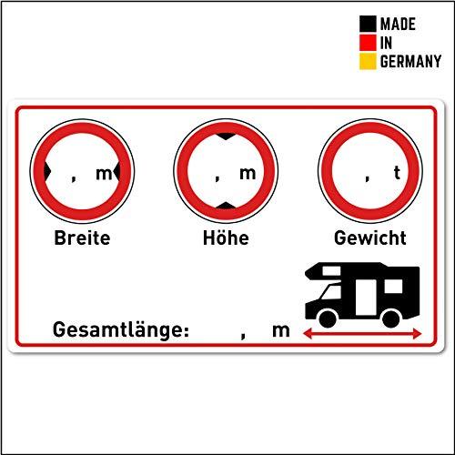 Wohnmobil Aufkleber (Gewicht - Höhe - Breite - Länge - 9,5x5,5 cm klein) - Cockpit Zubehör für Womo und Camper - Beschreibbare Folie in Weiss für Wohnmobile - Folien Selbstklebend