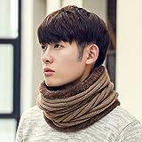 Inverno maschio sciarpa pura lana tessuto a maglia semplice uomo cashmere spesse collare caldo 42cm*30cm,Kaki compleanno madre padre valentino regalo di Natale