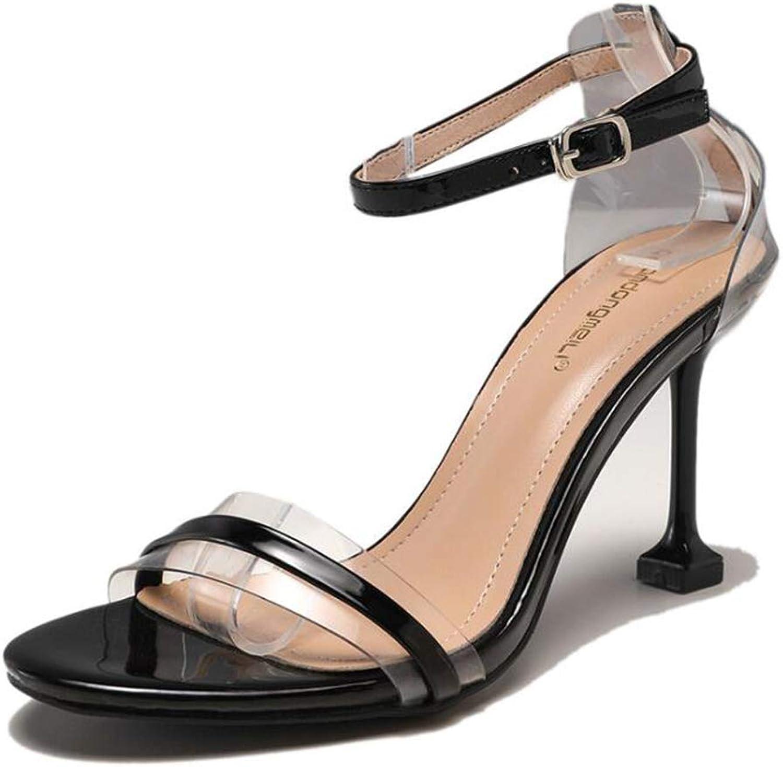 HEDDK Summer Fashion Women Casual Transparent shoes Stiletto High Heel Sandals Ladies Wild Ankle Strap Sandals Simple Party Sandals Plus Size 34-38