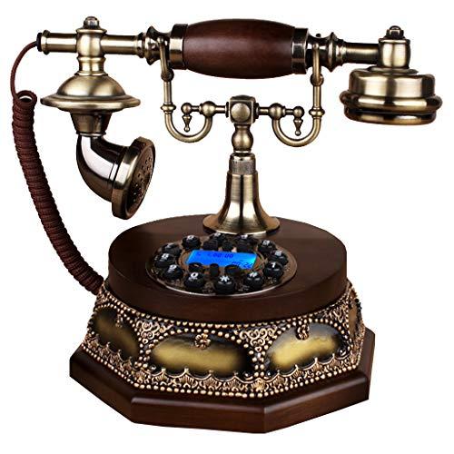 VERDELZ TeléFono Retro TeléFono Antiguo Europeo TeléFono De éPoca, Madera Maciza, BotóN De Marcar TeléFono del Hogar Sala De Estar Dormitorio TeléFono Fijo