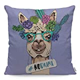 Wozukia Funny Llama Throw Pillow Cover in A Green Glasses and with A Succulent and Cacti Flowers No Drama Lettering Quote Purple Square Pillow Case for Home Car Decorative Cotton Linen 18x18 Inch