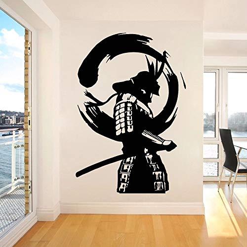 Vinilo Samurai Samurái japonés Enso Círculo Zen Samurai Modelo asiático Etiqueta de la pared