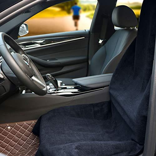 Hiveseenカーシートカバー防水防汚軽/普通車用フロント運転席1枚吸水タオル汗対策汎用エプロンタイプずれにくいバケットシート
