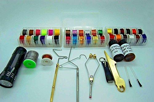 Fliegenbinden Werkzeug und Material Kit, Faden, Zahnseide, Lametta, UV Kleber, Whip Finisher