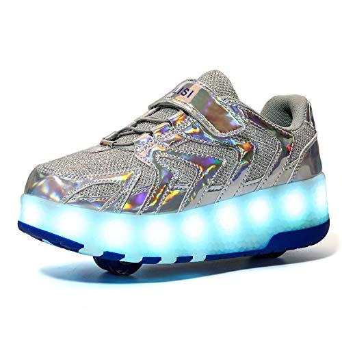 YSTHEZ Zapatillas de deporte con luz LED con dos ruedas para niños y principiantes, color plateado, 34EU