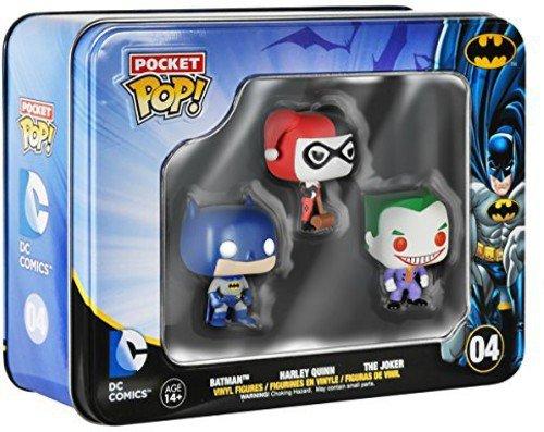 DC Comics Batman bolsillo Pop! Vinilo Figura 3 mini-paquete de estaño Batman de DC Comics bolsillo Pop! 3 mini-paquete de estaño de vinilo - Figura Batman Caja con 3 figuras mini Pop -Batman, Joker, Harley Quinn- (3,75cm)