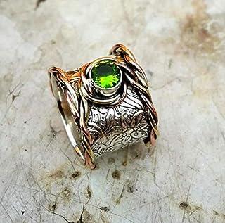 Banda, anillo de plata esterlina 925 real, anillo oxidado, anillo bohemio, anillo unisex de peridoto, anillo giratorio para madres en dos tonos, anillo hecho a mano para mujeres