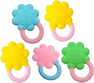 5 stks zachte siliconen baby tandjes speelgoed bijtringen food grade bijtring voor baby en peuters (willekeurige kleur) Ki...