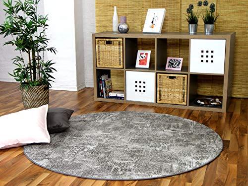 Mystic Designer Soft-Velours Teppich Vintage Grau Rund in 7 Größen