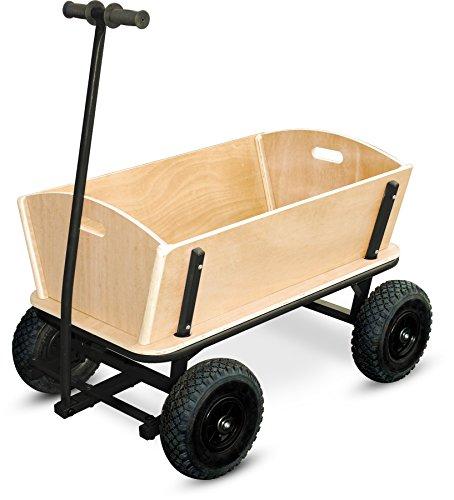 small foot 9930 Bollerwagen 'XXL' aus Holz und Metall, auch für größere Einkäufe geeignet, mit Vollgummibereifung