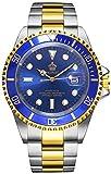 REGINALD Men Gold Watch GMT Rotatable Bezel Waterproof Sapphire Stainless Steel Date Quartz Blue Watches (Gold/Blue)