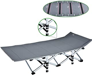 Gray Portable Folding Camping Bed for Heavy Duty People, Bedchair for Home Office or Fishing Camping Guest Single Beds with Carry Bag, Support 400kg