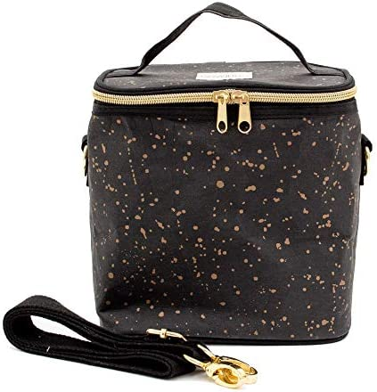 SoYoung Black and Gold Splatter Washable Paper Petite Poche Stylish Modern Insulated Lunch Bag product image