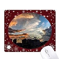 濃紺の空にカラフルな雲 オフィス用雪ゴムマウスパッド