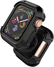 UMTELE Compatible with Apple Watch Series 5 Series 4 Case 44mm, Rugged Protective Case Shockproof Bumper Screen Protector Cover Replacement for Apple Watch Series 5, 44mm - Black