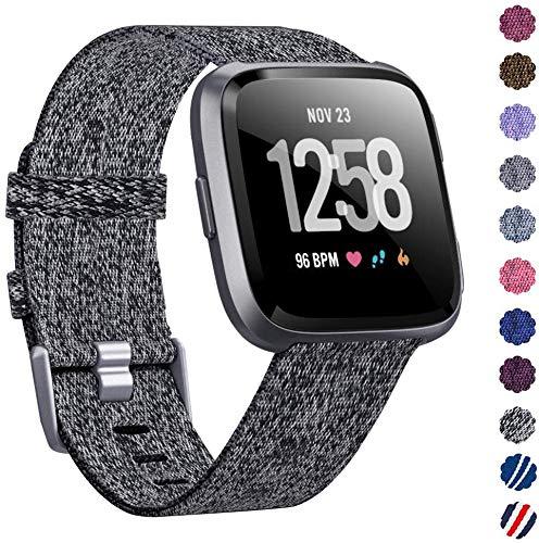 RONSHIN Woven Horlogeband Compatibel met Fitbit Versa/Fitbit Versa 2/Fitbit Versa Lite Edition Ademende stof Band voor Mannen Vrouwen Smartwatch Zwart