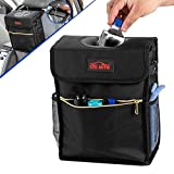 CZC AUTO Car Trash Can/Bin Leakproof Car Garbage Bin with Lid and Storage Pockets, Collapsible/Foldable Auto Trash Bin 2.7 Gallon Hanging Car Waste Bin with Adjustable Strap for Vehicle Organizing