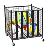 Snail Sports Ball Storage Rolling Cart Lockable Sports Ball Storage Rack with Elastic Straps, Stackable Ball Cage for Garage Storage Organizer, Compact Size But Functional, Matt Black
