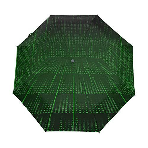 Jereee Hallway Matrix Compact Travel Umbrella, Outdoor Rain Sun Car Folding Umbrellas for Windproof, Reinforced Canopy, UV Protection, Ergonomic Handle, Auto Open/Close