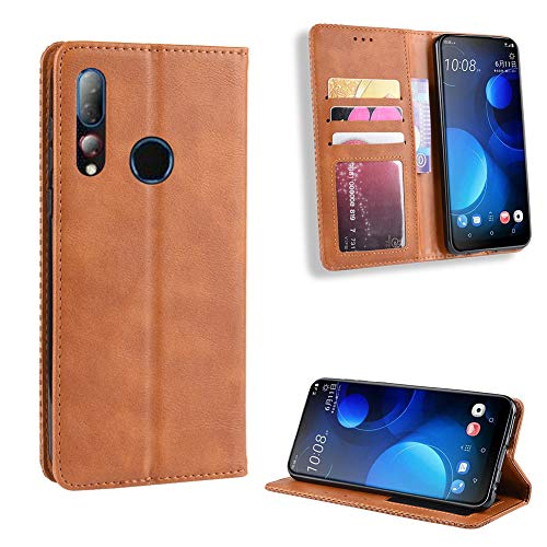 fancartuk Kompatibel mit HTC Desire 19 Plus Hülle Leder, PU Brieftasche etui Schutzhülle Tasche Slim Flip Case Cover mit Magnetverschluss für HTC Desire 19 Plus (Braun)