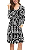 LILBETTER Women Casual Long Sleeve Dresses Loose Plain Pleated Dress with Pockets (Flower Black White,S)