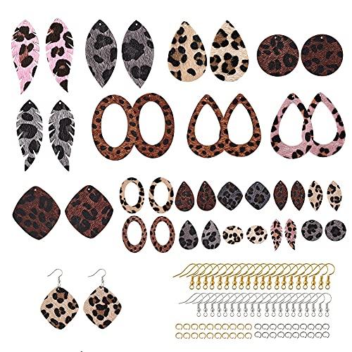 Beadthoven - Set di 20 paia di orecchini in pelle con stampa leopardata, in finta pelliccia, con ganci per orecchini, anelli per orecchini da donna