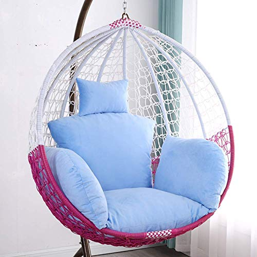 SONGYU Coussin de Chaise de balançoire de Meubles, Coussin de Chaise de Panier Suspendu, Coussin Amovible Simple, intérieur extérieur sans Chaise, Coussin de siège épais de nid Bleu Clair