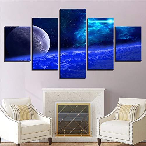 Fyyanm Peintures sur Toile Mur Art Prints 5 Pièces Galaxy Espace Extérieur Planète Photos Bleu Cosmos Affiches Modulaire Salon Décor-40X60Cmx2 40X80Cmx2 40X100Cm