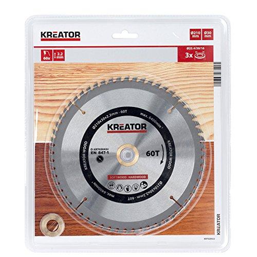 KREATOR KRT020422 - Disco de sierra madera 210mm60d