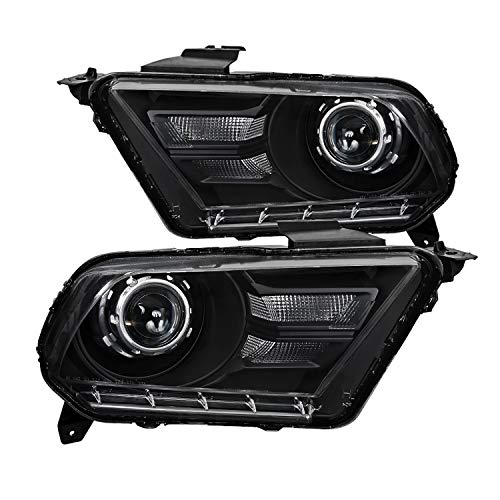 Spec-D Tuning Black Retrofit Style Projector Headlights Head Lamps for 2010-2014 Ford Mustang Head Light Assembly Left + Right Pair