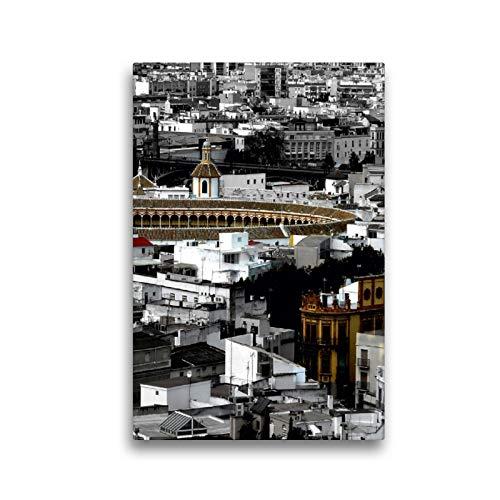 CALVENDO Lienzo Premium de 30 cm x 45 cm de Alto, Imagen de Maestranza Stierkampfarena, Sevilla, Imagen sobre Bastidor, Imagen Lista en Lienzo auténtico, impresión en Lienzo Orte Lugares