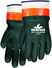 MCR Safety 6410SC Double-Dipped PVC Jersey Lined Sandpaper Finish Men's Gloves with Plasticized Safety Cuff, Green/Orange, Large, 1-Pair